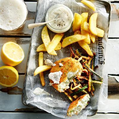 fish cakes with fried zucchini and horseradish sauce