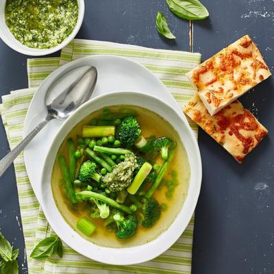 minestrone with green vegetables and herbs