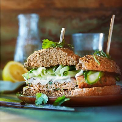 tuna burger with pickled cucumber and wasabi-mayo