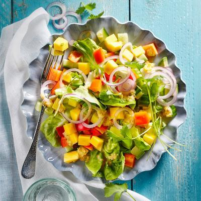 mango avocado salad with mango dressing