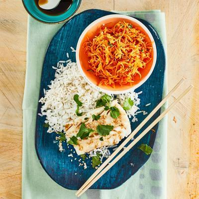 oriental steamed cod with carrot dip