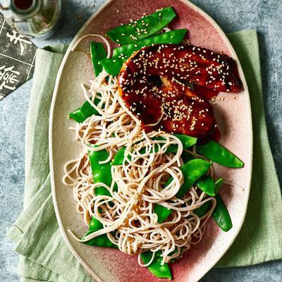 sesame noodles with teriyaki bacon patties