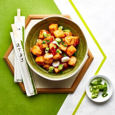 Chinese tofu with sweet and sour sauce