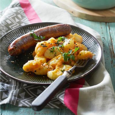 creamy gnocchi with sweet potato and saucisson