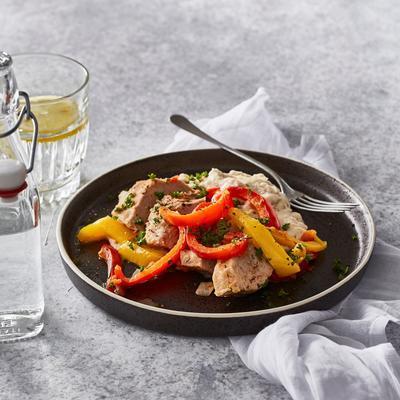 Mediterranean stew with fresh bean-fennel puree