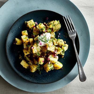 lukewarm potato salad with red onion