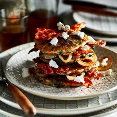 kale pancake with bacon and onion