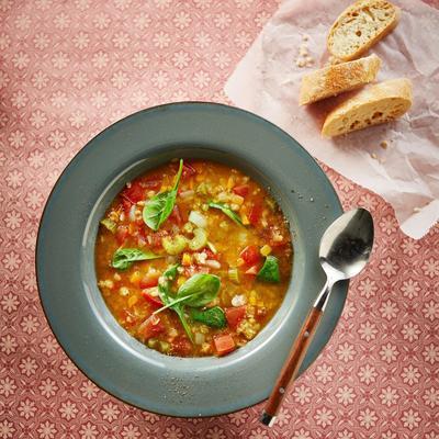 Italian tomato lentil soup