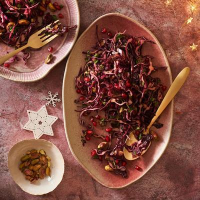 red cabbage salad with pomegranate