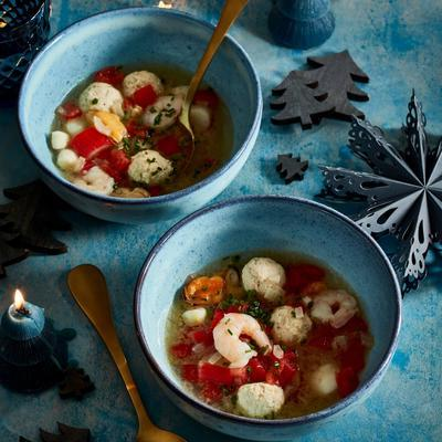 fish soup with chicken meatballs