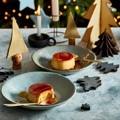 cream caramel with rosemary and sea salt