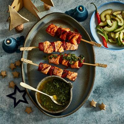 surf and peat-skewers with gremolata