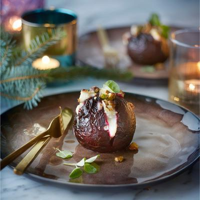 puffed beetroot with goat's cheese and pistachio nuts