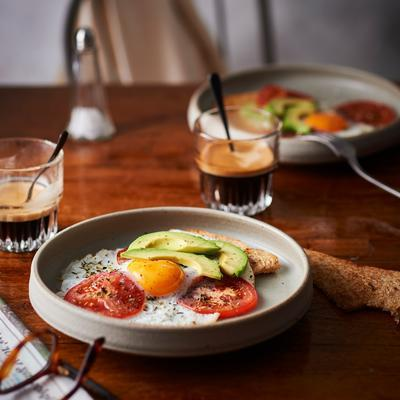 fried egg with tomato and avocado