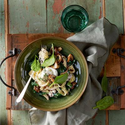 tagliatelle with mushroom tapenade and ricotta