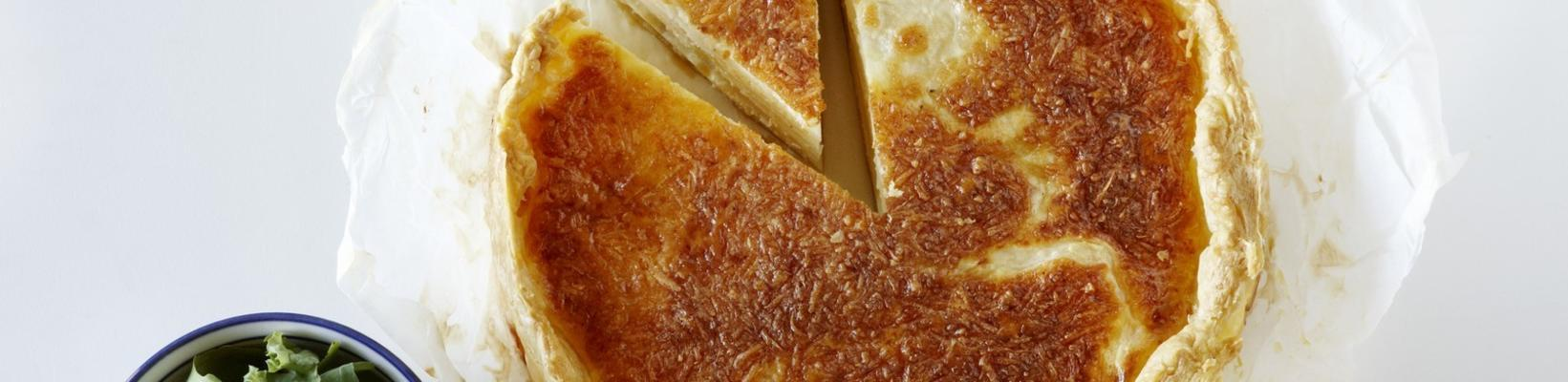 quiche with celeriac and green salad