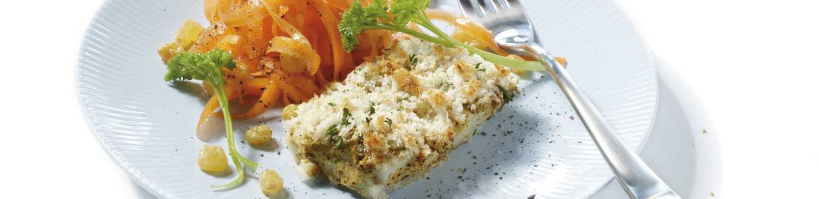 crispy pollock with carrot salad