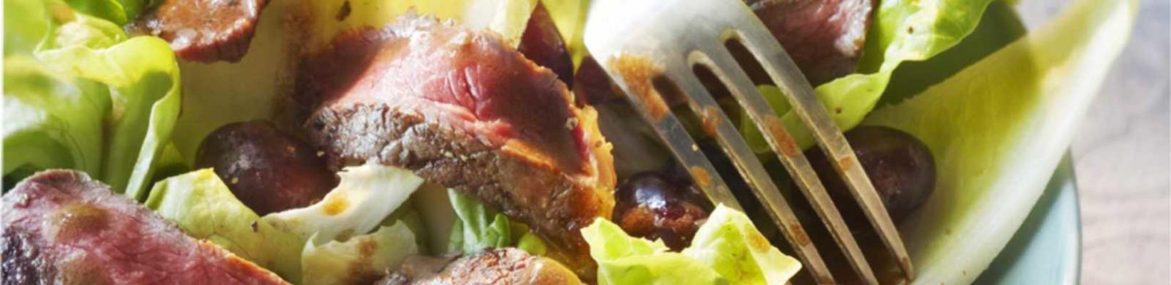 grilled sirloin steak with balsamic vinegar and salad