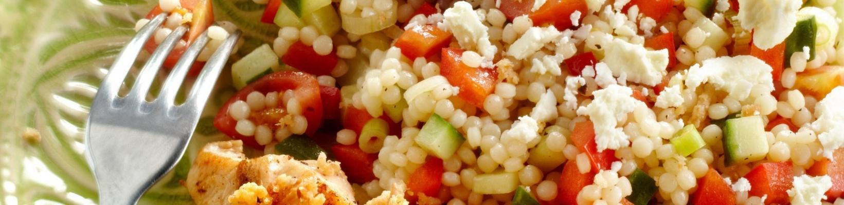 couscous salad with chicken kebab