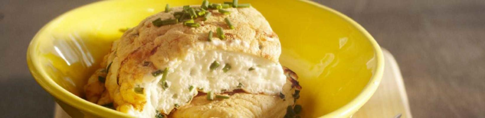 omelet of protein with goat cheese and chives