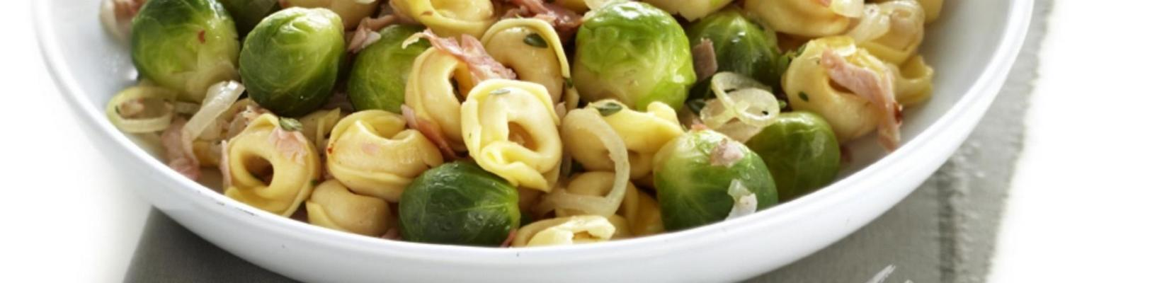 tortellini with sprouts and bacon