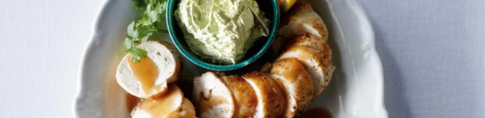 chicken fillet roll filled with anchovies, lemon and parsley butter
