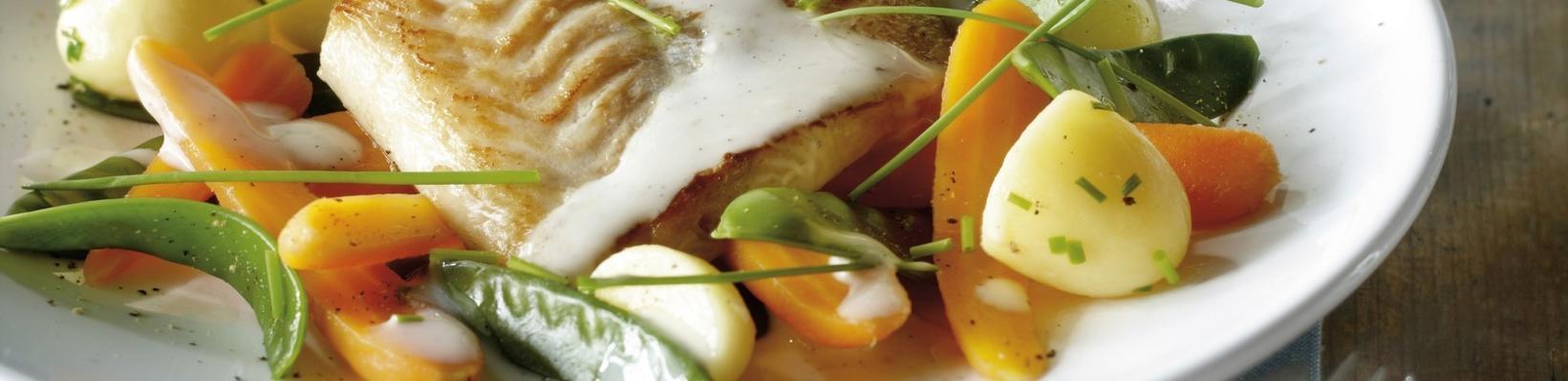 white fish with white wine-vanilla sauce