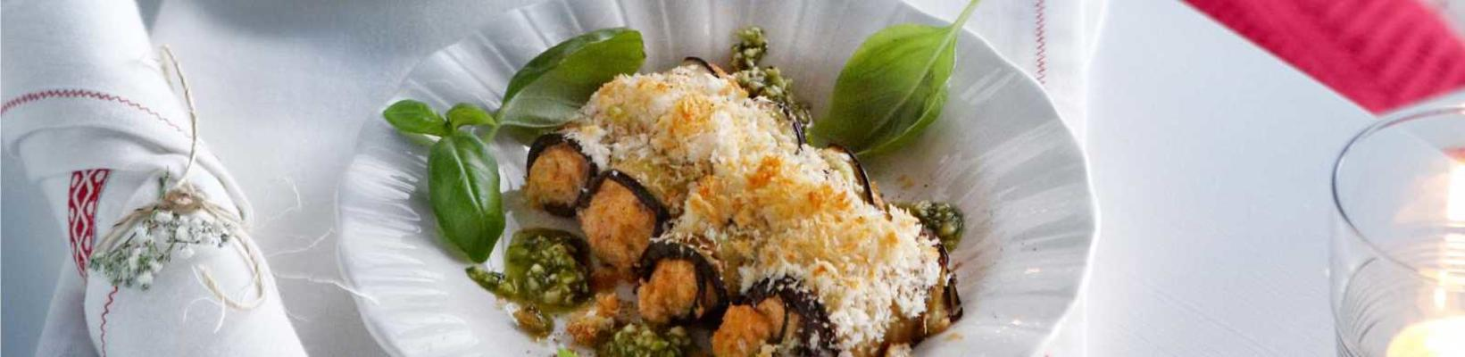 gratin aubergine rolls with ricotta and red pesto