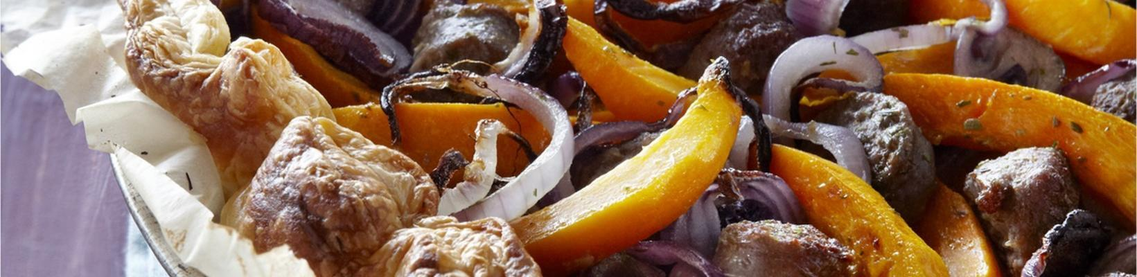 savory pie with sausage, onion and pumpkin