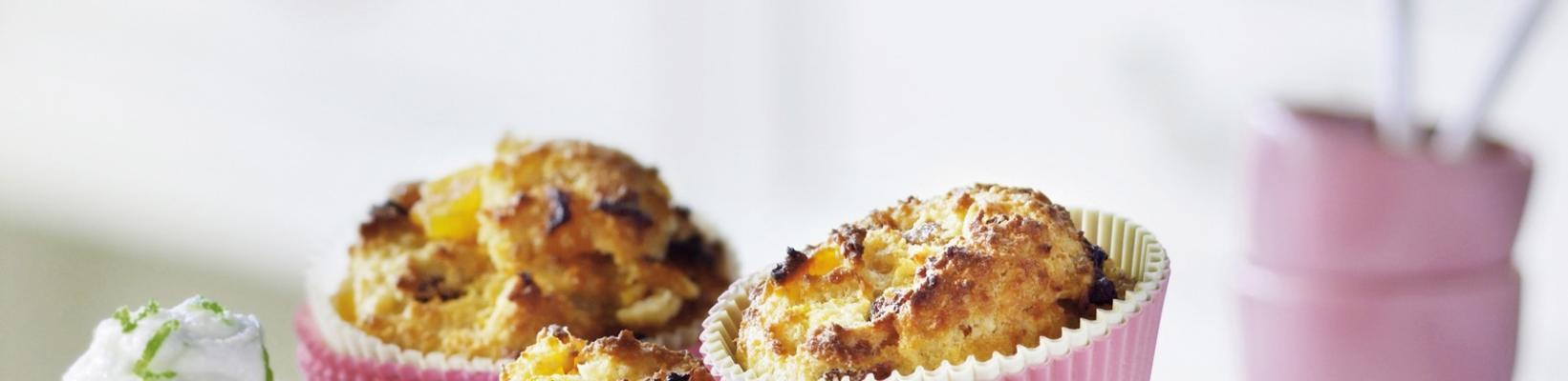 cornbread muffins with apricots, almond and lime ricotta