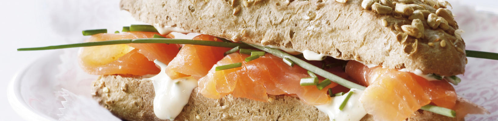 multigrain cereal with smoked salmon and orange mayonnaise