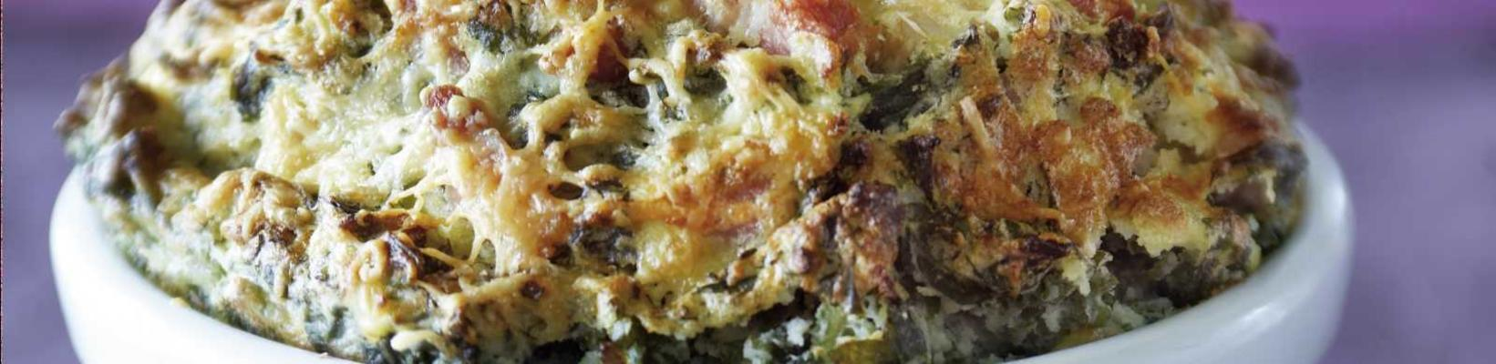 souffle of kale stew and old cheese