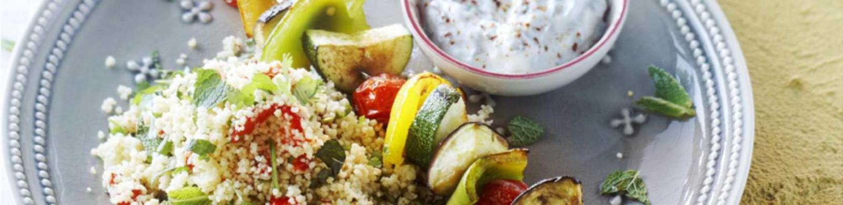 vegetable kebab with couscous salad
