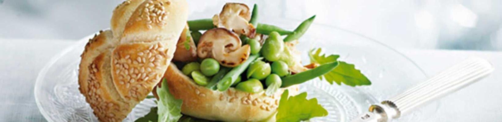 mushroom ball with green vegetables