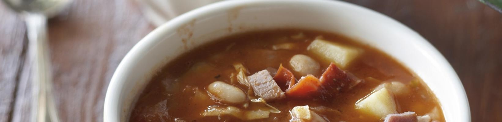Spanish white bean soup with cabbage