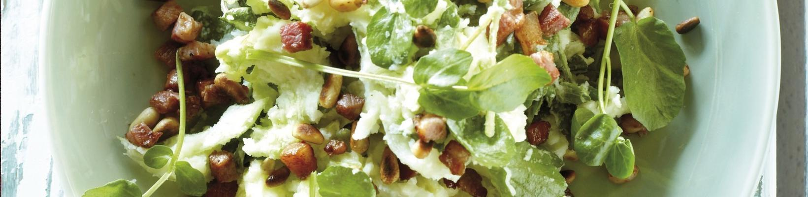 stew with watercress, iceberg lettuce, bacon and pine nuts