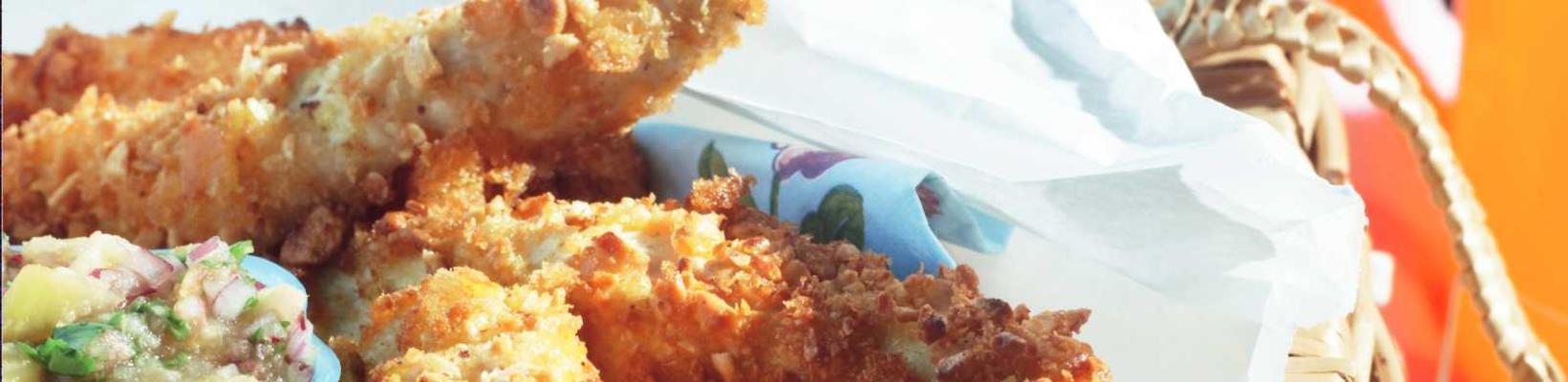 crispy chicken fingers with nectarine salsa