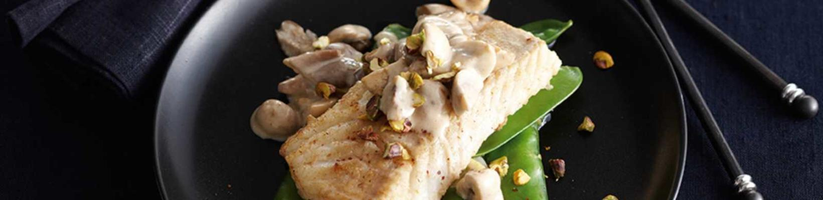 cod with mushrooms, snow peas and pistachio