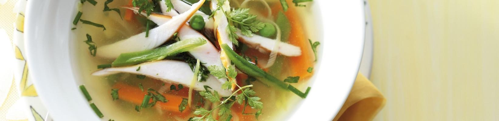 chicken broth with spring vegetables