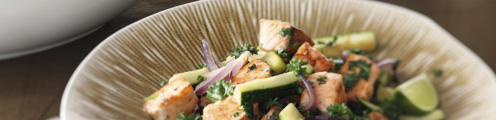 stir-fry dish with salmon and courgette potatoes