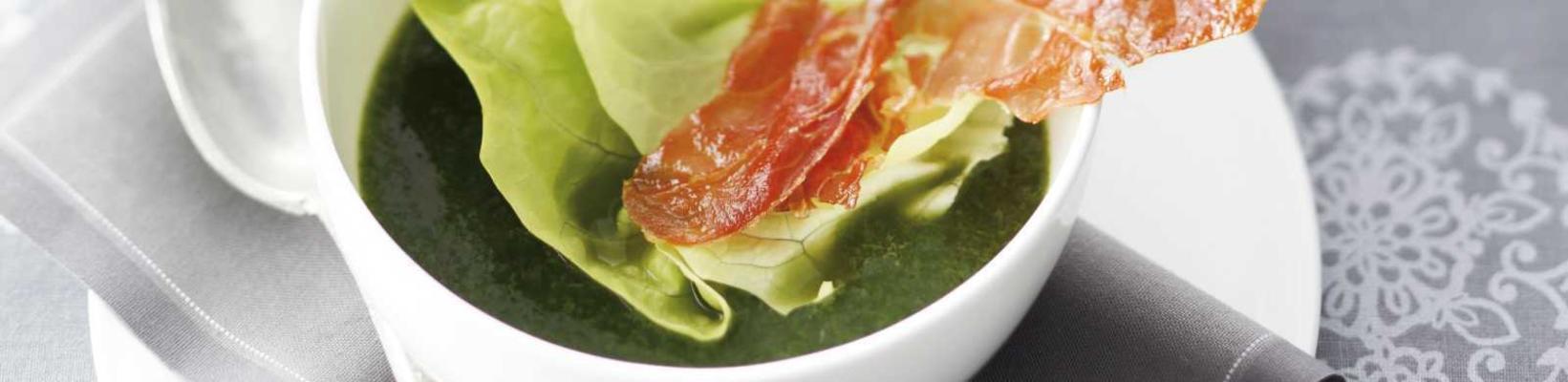 lettuce soup with crispy parma ham