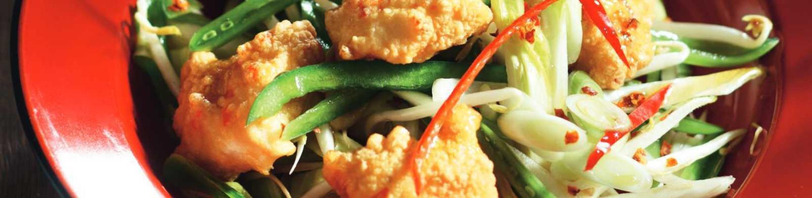 oriental salad with spicy marinated fish