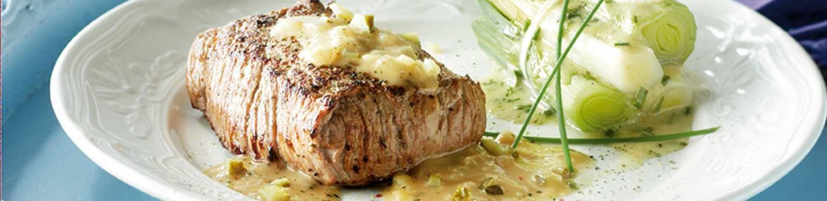 veal oyster with mustard sauce and leek