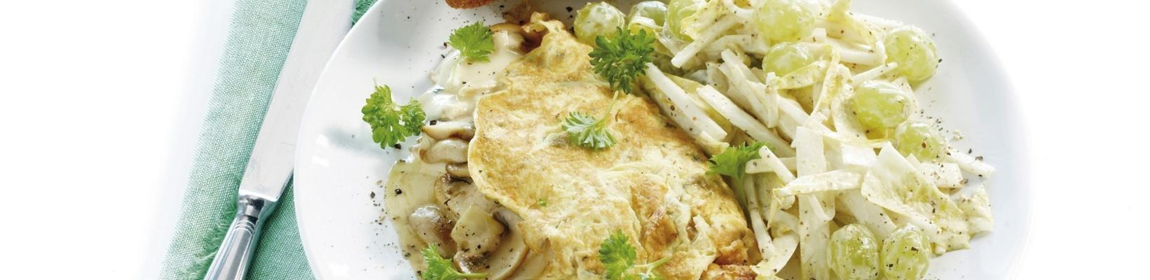 french omelette with chicory salad