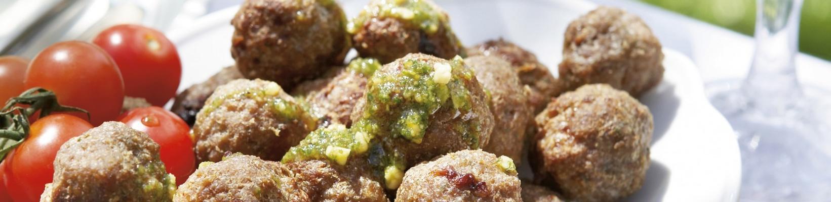 meatballs with pistachio pesto