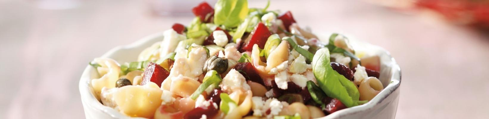 pasta shells with beets, spring onions and feta