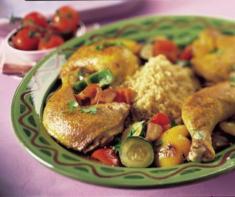 couscous with roasted vegetables and chicken