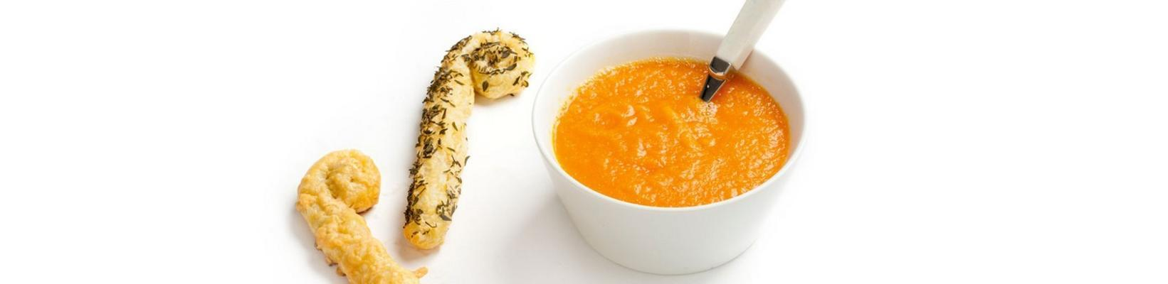 carrot soup with puff pastry