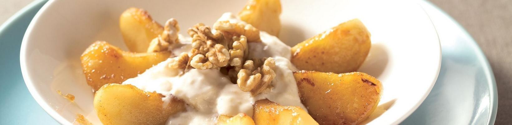 baked apple with banana and walnuts