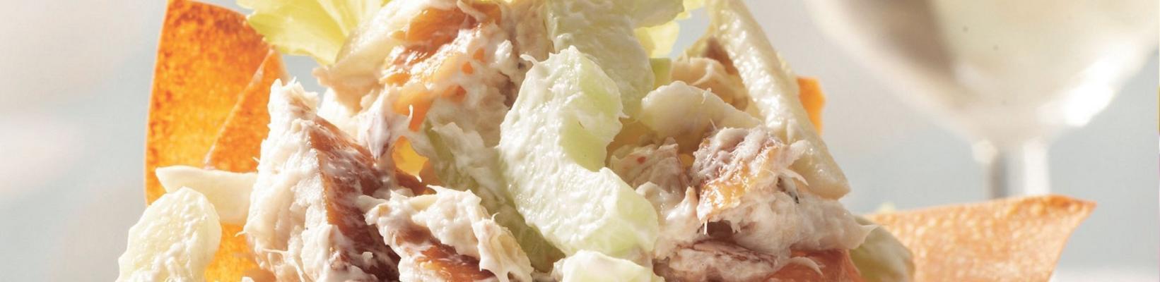 filo tarts with smoked mackerel salad